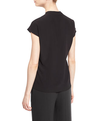 Image 3 of 3: V-Neck Cap-Sleeve Silk Shell