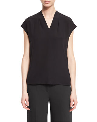 V-Neck Cap-Sleeve Silk Shell
