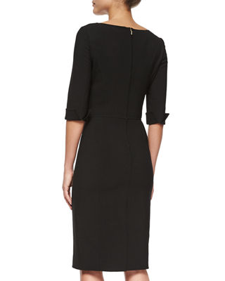 Image 2 of 2: Princess-Seamed Rolled-Cuff Sheath Dress