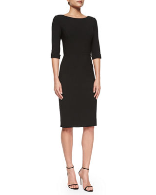 Image 1 of 2: Princess-Seamed Rolled-Cuff Sheath Dress