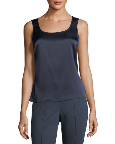 St. John Collection Liquid Satin Scoop-Neck Tank