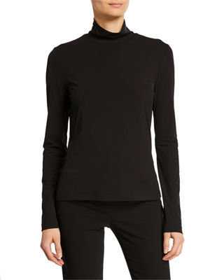 Image 1 of 2: Mock-Neck Fine Jersey Top