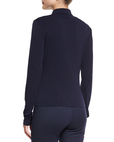 St. John Collection Mock-Neck Fine Jersey Top