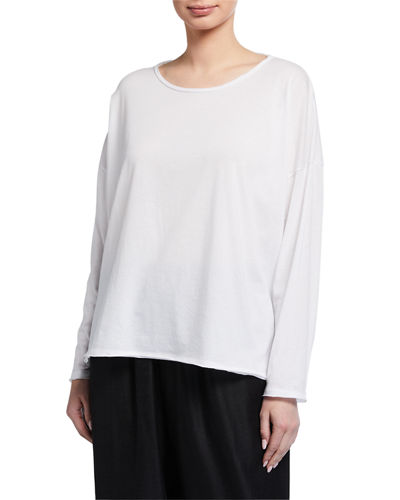 Long-Sleeve Scoop-Neck Lightweight T-Shirt