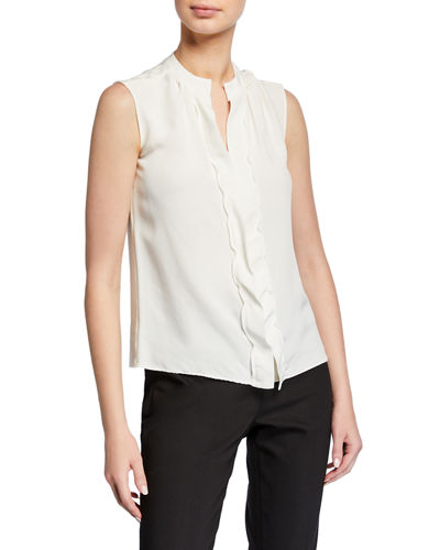 Sleeveless Two-Tone Blouse, Ivory