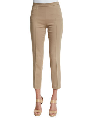 Milla High-Waist Straight-Leg Ankle Wool Pants Akris