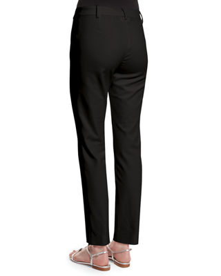 Stretch Micro Ottoman Pintucked Ankle Pants