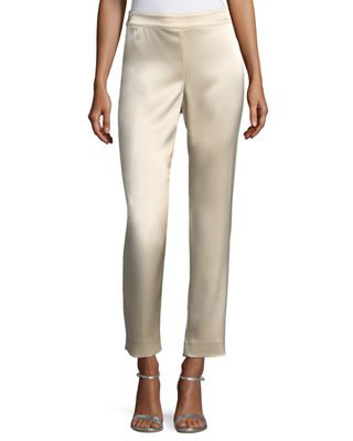 St. John Collection Emma Liquid Satin Cropped Pants