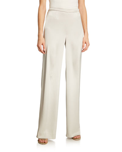 St. John Collection Liquid Satin Wide-Leg Pants and