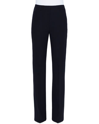 AKRIS Carol Straight-Leg Wool Crepe Pants in Black