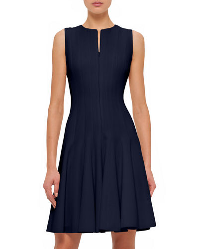 Sleeveless Fit-&-Flare Zip Dress