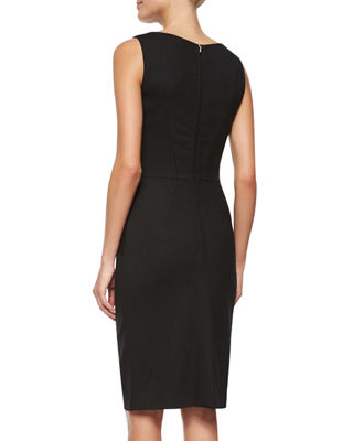 Image 2 of 2: Sleeveless Ruffle-Front Sheath Dress