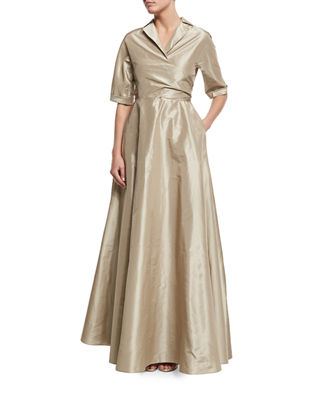 Lela Rose Half-Sleeve Faux-Wrap Gown