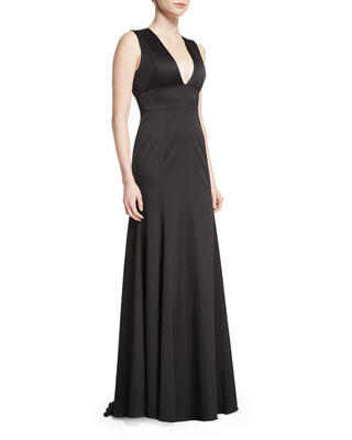Image 1 of 5: Sleeveless Plunging-Neck Gown