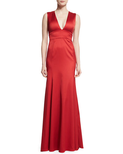 Sleeveless Plunging-Neck Gown