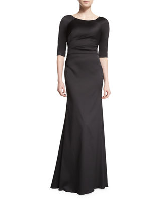 Lela Rose Half-Sleeve Bateau-Neck Mermaid Gown