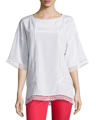St. John Collection Lace-Trim Half-Sleeve Top