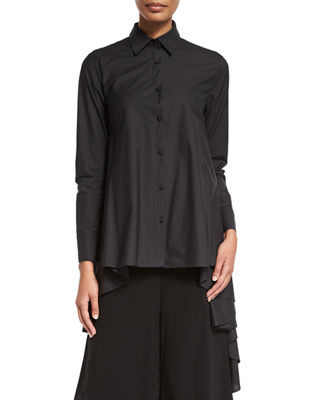 Image 1 of 3: High-Low Button-Front Blouse