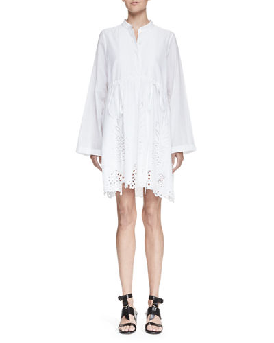 Chloé Cottons PINTUCKED PINEAPPLE EYELET TUNIC, WHITE