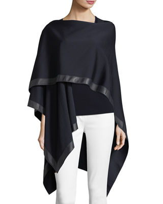 St. John Collection Leather-Trim Milano Wrap, Caviar and