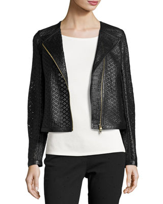 Perforated Leather Moto Jacket