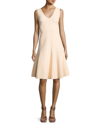 Narciso Rodriquez Sleeveless V-Neck Swing Dress