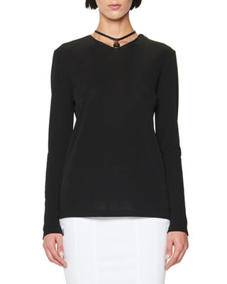 Long-Sleeve Tunic with Leather Padlock Embellishment