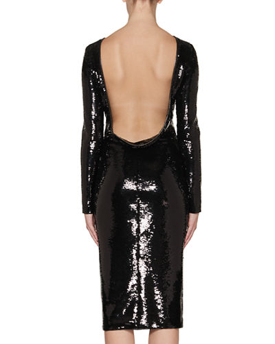TOM FORD Sequined Zip-Trim Scoop-Back Long-Sleeve Dress