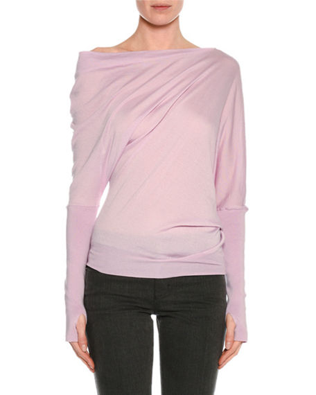 Tom Ford Knits DRAPED-FRONT LONG-SLEEVE TOP