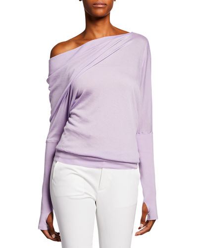 Draped-Front Long-Sleeve Top