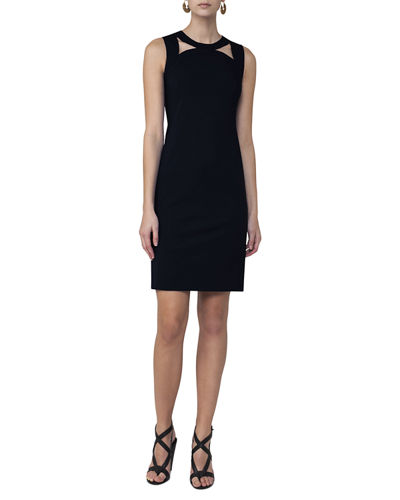 Akris punto Sleeveless Cutout-Shoulder Sheath Dress