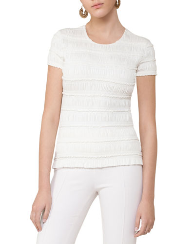 Ruched Cap-Sleeve Top