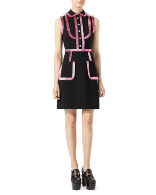 Image 1 of 2: Jersey Shirtdress with Metallic Trim