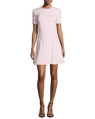 Cushnie Et Ochs Short-Sleeve Cady Lace-Up Dress