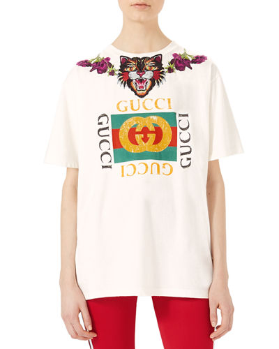 Gucci Crystal-Embroidered Cotton T-Shirt and Matching Items