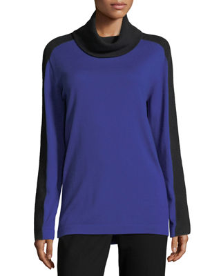 Mesh-Stripe Cowl-Neck Sweater