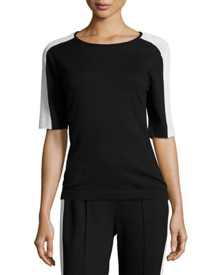 Escada Mesh-Trim Short-Sleeve Tee