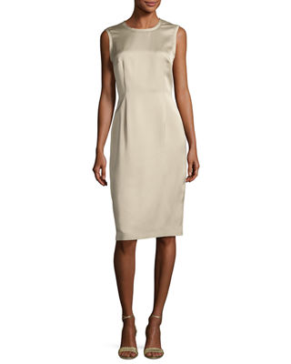 Image 1 of 3: Sleeveless Raw-Edge Sheath Dress