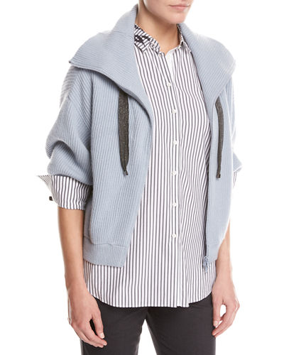 Brunello Cucinelli Ribbed Cashmere Zip-Front Sweater and Matching