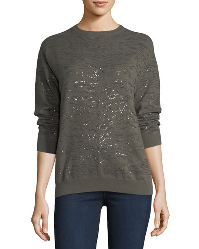 Brunello Cucinelli Animal Paillette Cashmere Sweater and Matching