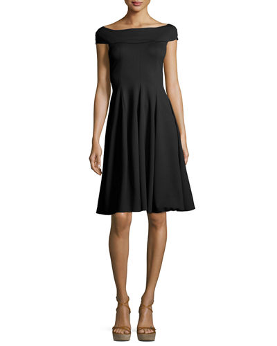 Armani Collezioni Milano Jersey Off-the-Shoulder Fit & Flare