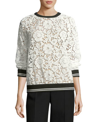 Lace Sweatshirt with Varsity Stripes