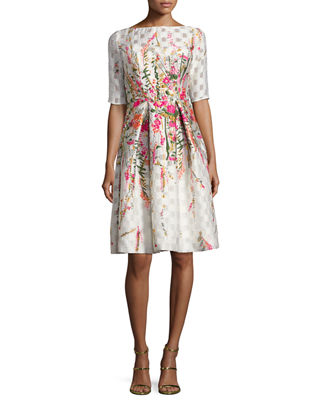 Floral-Embroidered Pleated Cocktail Dress