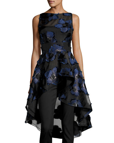 Lela Rose Floral Fil Coupé High-Low Peplum Top