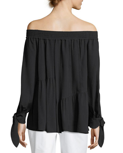 Shirred Silk Off-the-Shoulder Blouse