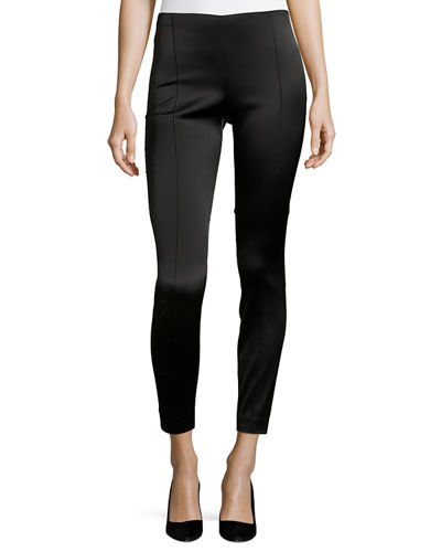 THE ROW Cosso Skinny Satin Ankle Pants and