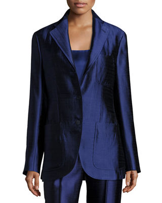 Image 4 of 4: Posner Three-Button Blazer Jacket