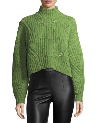 Isabel Marant Farren Chunky Cropped Mock-Neck Sweater and