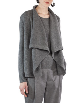 Akris punto Draped Wool-Cashmere Cardigan Sweater