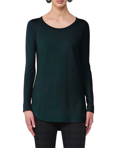 Akris punto Round-Neck Wool Pullover Top